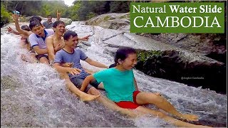 Slip & Slide on the Rock at Chreav Waterfall in Kampong Speu | Natural Water Slide in Cambodia, Asia