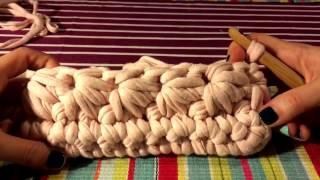 Вязание из трикотажной пряжи. Цветочный клатч