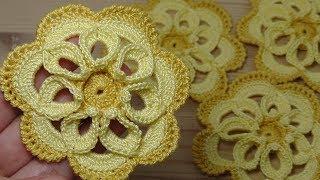 Как связать крючком ЦВЕТОК с объёмной серединкой How to crochet flower