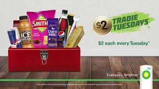BP Fill up on your favourite snacks for just $2 each. Gotta love $2 Tradie Tuesdays! 😋 👏 Advert