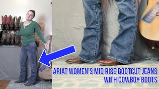 Ariat Jeans Womens Mid Rise Bootcut With Cowboy Boots