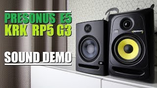 KRK Rokit 5 RP5G3 Vs Presonus E5      Sound Demo W/ Bass Test