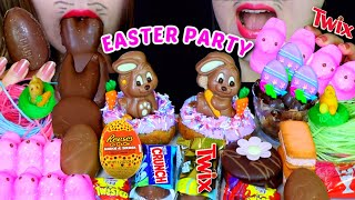 ASMR EASTER PARTY (TWIX, REESES EGG, GIANT CHOCOLATE MARSHMALLOW, DONUT, EDIBLE GRASS, CHOCO CAKE먹방