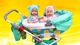 Spielspaß mit Baby Born Puppen. Kinderwagen für Baby Born Zwillinge. Video mit Clown.