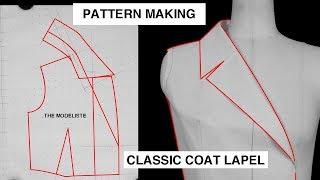 PATTERN MAKING | CLASSIC COAT LAPLE | HOW TO DRAFT STEP BY STEP