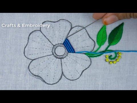 Latest Flower Hand Embroidery - Fantacy Flower Design for Beginner - Puntada De Flor - Flower Stitch
