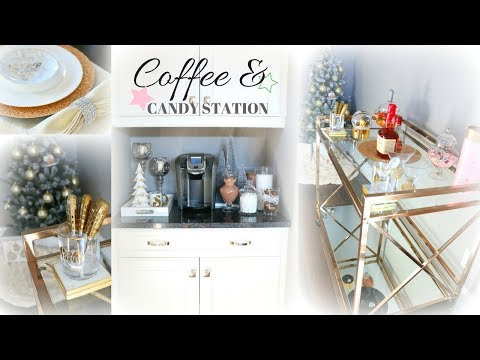 COFFEE & CANDY STATION!☕️🍭🎄 DECORATING THE BAR CART!☕️🍭🎄 -SLMissGlamVlogs💕
