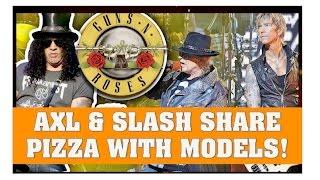 Guns N Roses News  Axl & Slash Eat Pizza With Models & Tom DeLonge Isnt A Big Fan