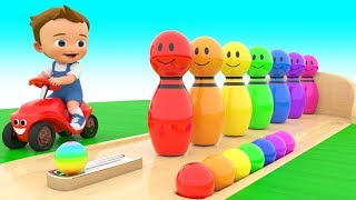 Learning Colors with Baby Fun Play Bowling Alley Color Pins 3D Kids Children Toddler Educational