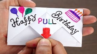 DIY - Pull Tab Origami Envelope Card || Letter Folding Origami || Birthday Card | Greeting Card |