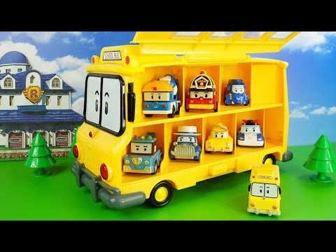 Большой Желтый автобус Скулби из мультика Робокар Поли. Гараж для машинок. Robocar Poli  애니메이션 영화