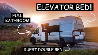 VAN TOUR 🚐 | Unique ELEVATOR BED & Copper BATHROOM | Self-Build Van Conversion BUILT IN LOCKDOWN  by Nate Murphy