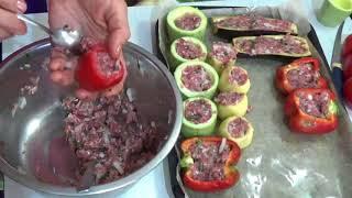 Овощи фаршированные мясом, запеченные в духовке. Вкусный рецепт.