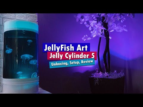 Jellyfish Art Cylinder 5 – Nano Moon Jellyfish aquarium unboxing setup and review