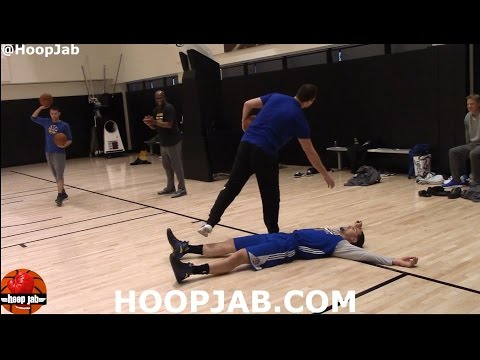 Klay Thompson Post Practice Shooting Workout, Takes A Funny Fall. HoopJab NBA