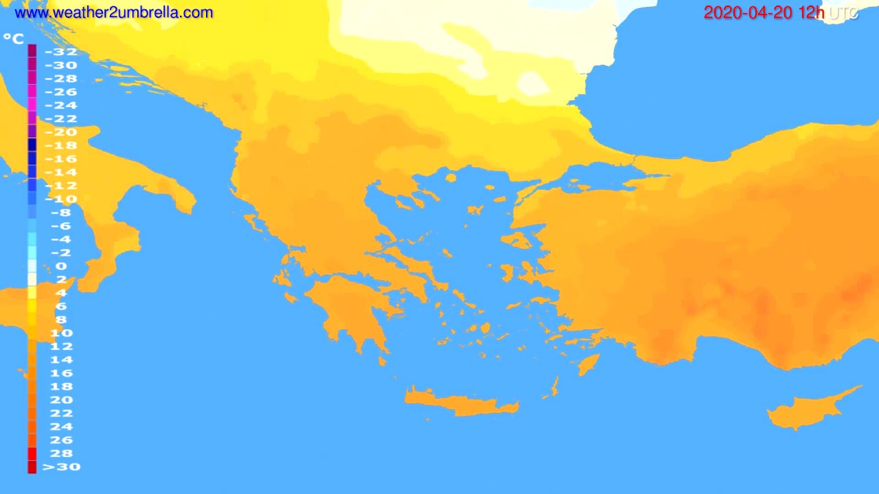Temperature forecast Greece // modelrun: 00h UTC 2020-04-20