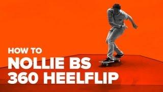 Смотреть онлайн Скейтбординг: трюк Nollie bs 360 Heelflip