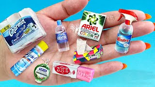 12 ACTUAL DIY MINIATURE REALISTIC LYSOL, HANDSOAP, DRINKS AND MORE FOR DOLLHOUSE BARBIE TOILET PAPER