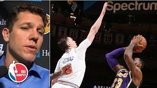 Luke Walton comfortable with LeBron taking late blocked shot in Lakers' loss to Knicks | NBA on ESPN