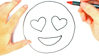 How To Draw A Heart Eyes Emoji For Kids | Heart Eyes Emoji Easy Draw Tutorial