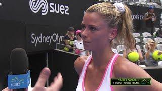 Camila Giorgi On Court Interview (R1)   Sydney International 2018
