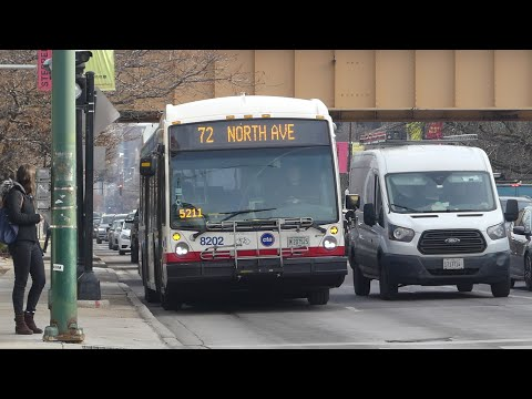 CTA Bus: 2017 Nova-LFS & 2009 New Flyer D40LF Route 72 Buses at Halsted/North