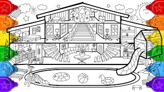 Glitter Pool House Coloring And Drawing For Kids, How To Draw A Glitter Pool House Coloring Page
