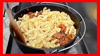 Meat Lovers Dutch Oven Pasta Camping Recipe