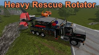 Farming Simulator 17 #6 Heavy Rescue Rotator Saving A Stuck Tractor & Lowboy Trailer