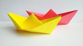 Оригами лодка. Как сделать кораблик из бумаги своими руками. Поделки для детей.