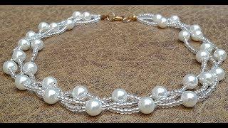 Delicado Collar De Perlas Y Mostacillas...Clase #182!!!