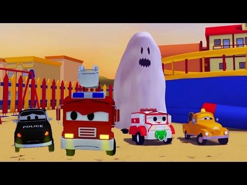 Авто Патруль: полицейская машина, и Привидение, пугающее детей в Автомобильном  Хэллоуину 🚚🚒🚓