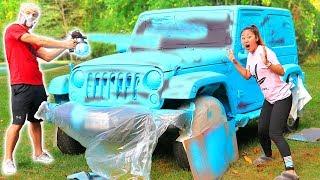 SPRAY PAINT CAR SURPRISE!!