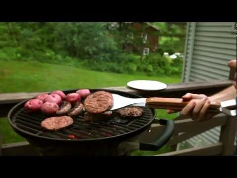 Stake Is A Grilling Tool That Combines Tongs, A Spatula And A Fork