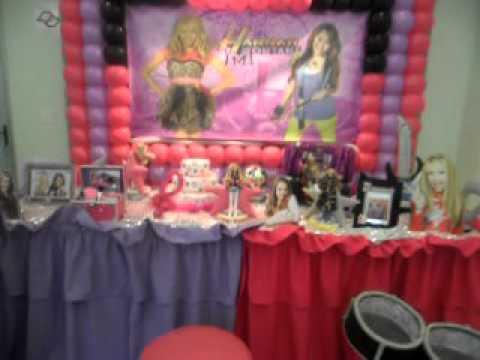 Festa e Decoração de Aniversário Infantil da Hanna Montana