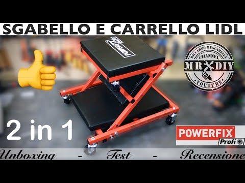 Sgabello carrello da montaggio da officina powerfix lidl. pieghevole. carrello sotto auto con ruote