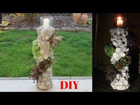 DIY Gartendeko,Blumensäule mit Windlicht/DIY garden decoration, flower column with wind light