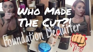 TRASHING MY MAKEUP!😱 Declutter Series! *Foundations*