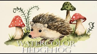 Watercolor Painting For Beginners/ Woodland Animal/ Hedgehog/ Step By Step Tutorial