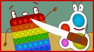 Мульт 2   Симпл Димпл ПРОТИВ Поп Ит   нет не песня   мультик анимация   вторая часть, кто круче