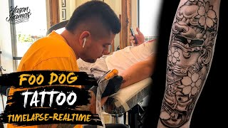 🔥FOO Dog TATTOO Con Aguja De Línea 3RL // Black&Grey // FU-FOO DOG TAtuaje Timelapse - Real Time