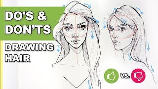 DOs & DONT - How To Draw Hair! 【Easy Art Drawing Tutorial For Beginners】
