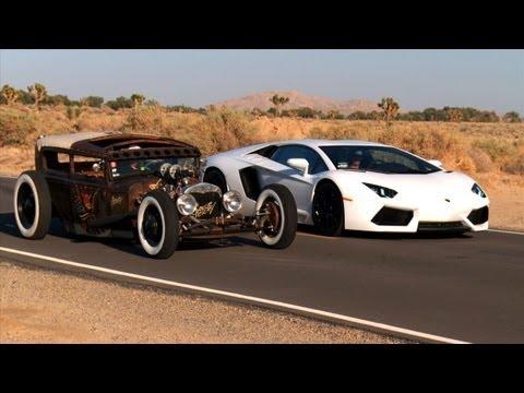 Rat Rod ile Lamborghini Aventador karşılaştırması