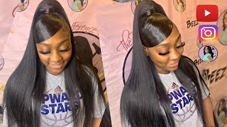 "💕💓""Deep Swoop Bang"" Half Up Half Dwn🏆Protective Quick Weave Brazilian Hair Straight 