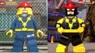 Lego Marvel Superheroes 1 VS Lego Marvel Superheroes 2 (All Characters Side by side)