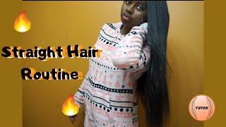 BONE STRAIGHT Hair Routine | Long Natural Hair | Stylin And Profilin