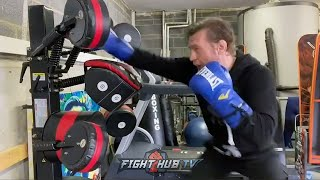 CONOR MCGREGOR SHARPENING BOXING SKILLS AT HOME – DRILLING LEFT HAND STRAIGHTS & HEAD MOVEMENT