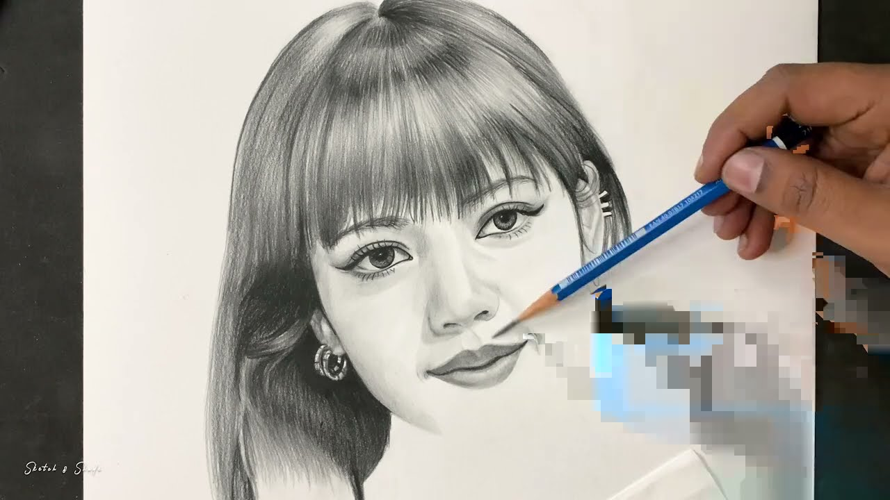 portrait pencil drawing black pink lisa by sketch and shade