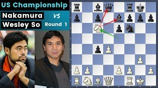 Countering Each Other - Nakamura vs Wesley So | US Chess Championship 2019 Round 1