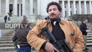 USA: Rifle carrying gun-rights supporters protest controls in Olympia